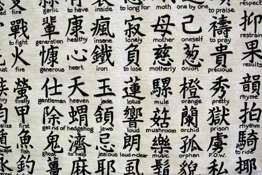Kanji list at tattoo parlour